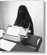 Yemeni Woman Typing In Chador And Veil Metal Print