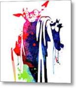 Yoda Wearing Classes Watercolor Metal Print