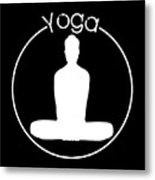 Yoga Image Of Silhouette Of Woman Sitting In Lotus Position Or Padmasana Metal Print