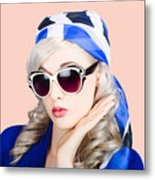 Young Beautiful Retro Girl In Glasses Metal Print