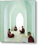 Young Buddhist Monks Reading In Temple Metal Print