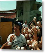 Young Fans Hold Up Baseballs For Royals Star George Brett To Sign Metal Print
