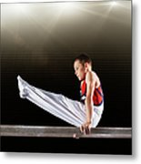 Young Male Gymnast Performing On Metal Print