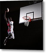 Young Man In The Air About To Dunk The Metal Print