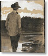 Young Man On A Riverbank Metal Print