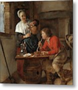 Young Man Smoking And A Woman Pouring Beer Metal Print