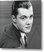 Young Man Wearing Pinstripe Jacket Metal Print