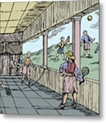 Young Men Playing A Form Of Tennis 16th Metal Print