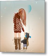 Young Mother With A Child Walking Metal Print