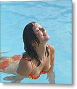 Young Woman In Bikini At Swimming Pool Metal Print