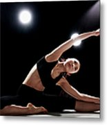 Young Woman Stretching Metal Print