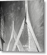 Zakim Bridge Boston Massachusetts Black And White Metal Print
