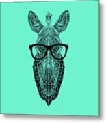 Zebra In Glasses Metal Print
