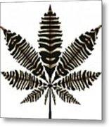 Zebra Pattern Marijuana Leaf 2 Metal Print