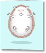 Zen Hedgehog Meditating Metal Print