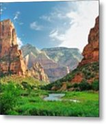 Zion Canyon, With The Virgin River Metal Print