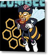 Zombee Zombie Bee Halloween For Beekeeper Apiarist Dark Light Metal Print