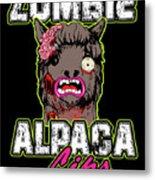Zombie Alpaca Lips Halloween Pun Llama Alpacalypse Dark Metal Print