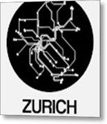 Zurich Black Subway Map Metal Print