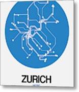 Zurich Blue Subway Map Metal Print