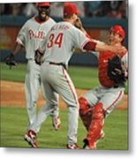 Carlos Ruiz, Ryan Howard, and Roy Halladay Metal Print