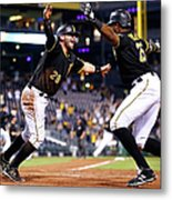 Francisco Cervelli and Gregory Polanco Metal Print