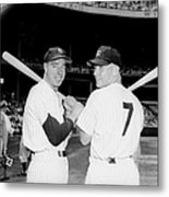 Joe Dimaggio and Mickey Mantle Metal Print