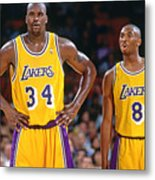 Kobe Bryant and Shaquille O'neal Metal Print