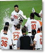 Manny Machado, Jonathan Schoop, And Adam Jones Metal Print