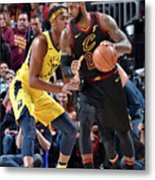 Myles Turner and Lebron James Metal Print