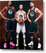 Stephen Curry, Kevin Durant, and Klay Thompson Metal Print