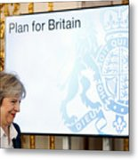 The British Prime Minister Delivers Her Brexit Speech Metal Print