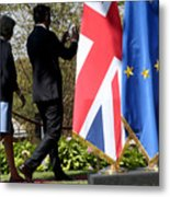 UK PM Teresa May Holds Talks With Italian PM Matteo Renzi Metal Print