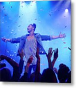 Band performing on stage at music concert Metal Print