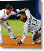 Carl Crawford and Martin Prado Metal Print