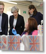 Theresa May Visits Stoke-On-Trent Central Ahead Of Thursday's By-election Metal Print