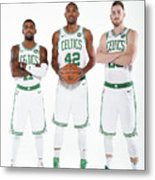 Al Horford, Kyrie Irving, and Gordon Hayward Metal Print