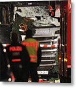 Lorry Drives Through Christmas Market In Berlin Metal Print