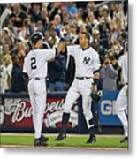 Lou Gehrig and Derek Jeter Metal Print