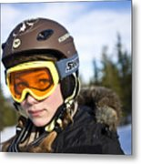 A girl wearing ski goggles Sweden. Metal Print