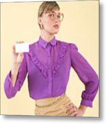 A woman holding a business card Metal Print