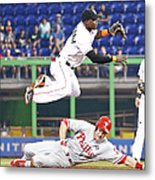 Adeiny Hechavarria and Chase Utley Metal Print