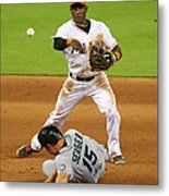 Adeiny Hechavarria and Kyle Seager Metal Print