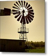 American-style windmill in backlight Metal Print