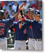 Andy Marte, Michael Brantley, and Shin-soo Choo Metal Print