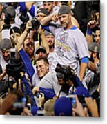 Anthony Rizzo, David Ross, and Jason Heyward Metal Print