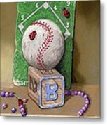 B is for Beads Bugs and a Ball for the Bases Metal Print