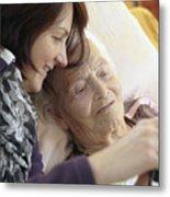 Bedridden Grandmother With Granddaughter Metal Print