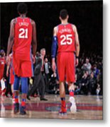 Ben Simmons and Joel Embiid Metal Print