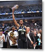 Bill Russell and Giannis Antetokounmpo Metal Print